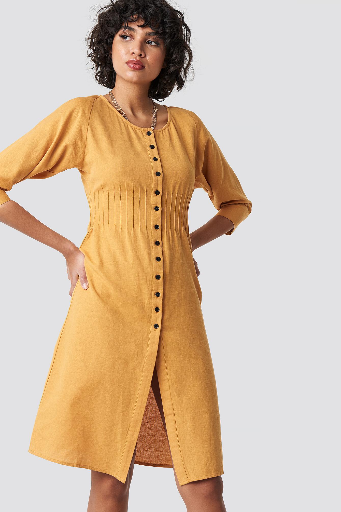 Shirred Waist Buttoned Midi Dress NA-KDLOUNGE.DE