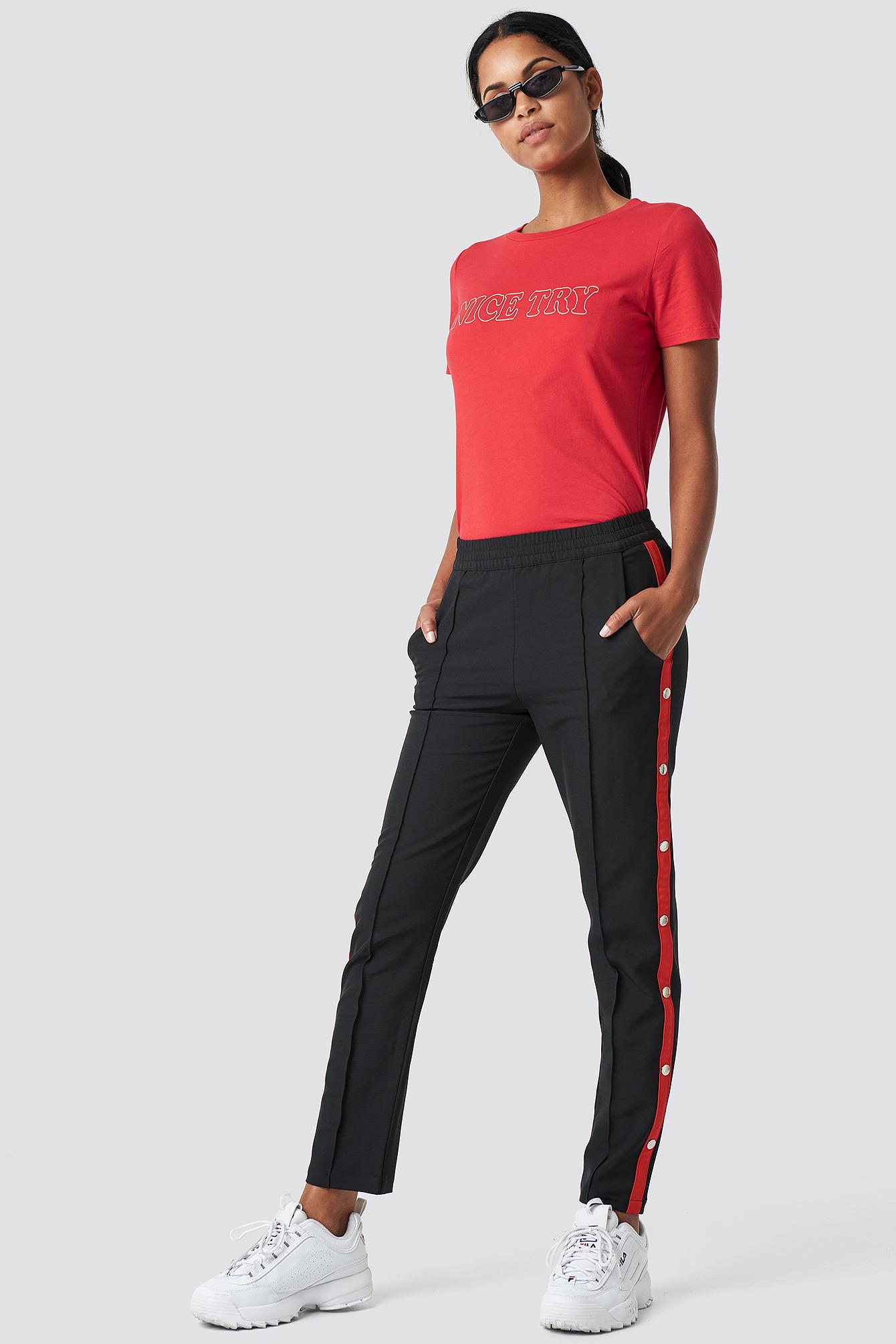 Side Stripe Popper Pants NA-KDLOUNGE.DE
