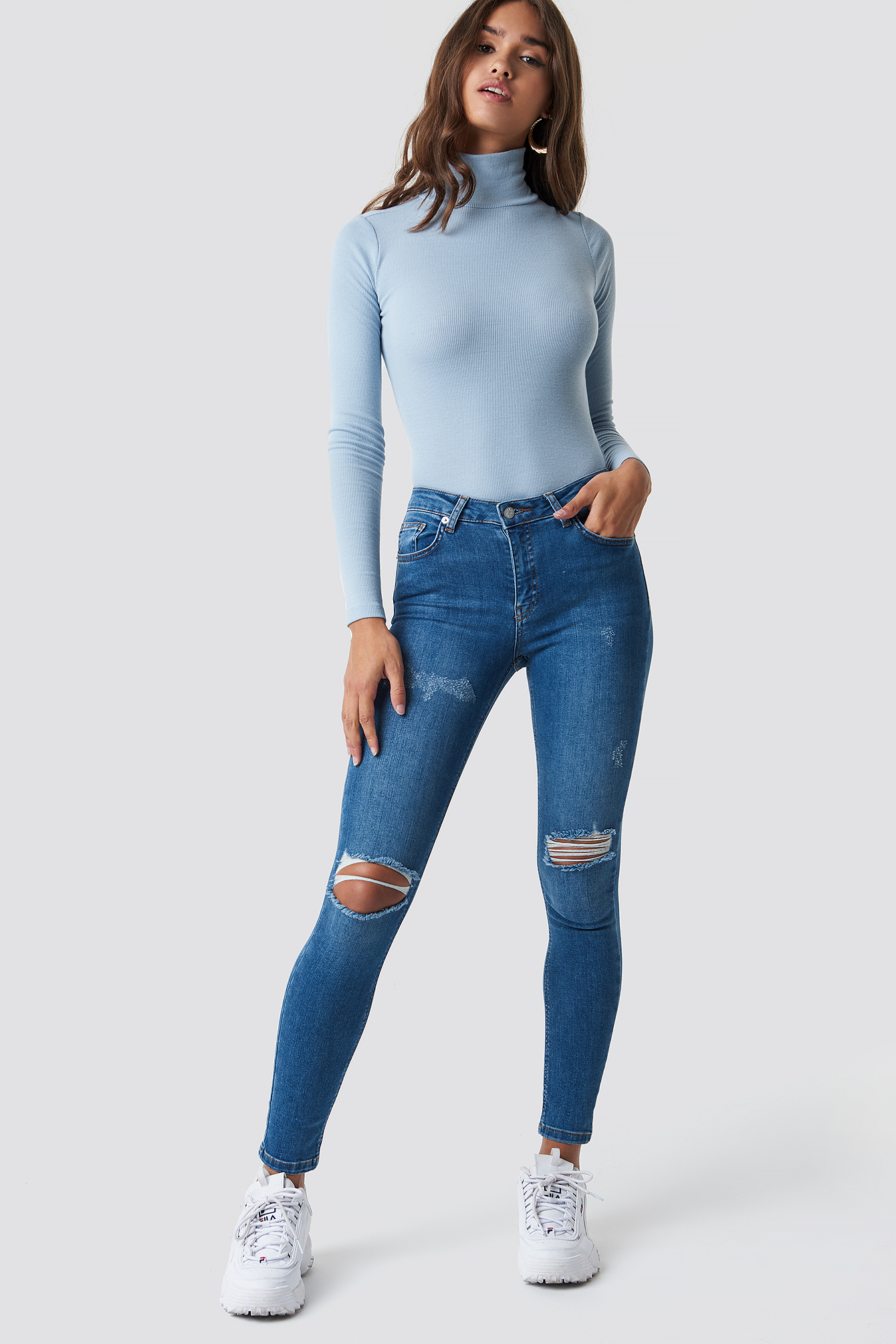 Skinny Mid Waist Destroyed Jeans NA-KDLOUNGE.DE