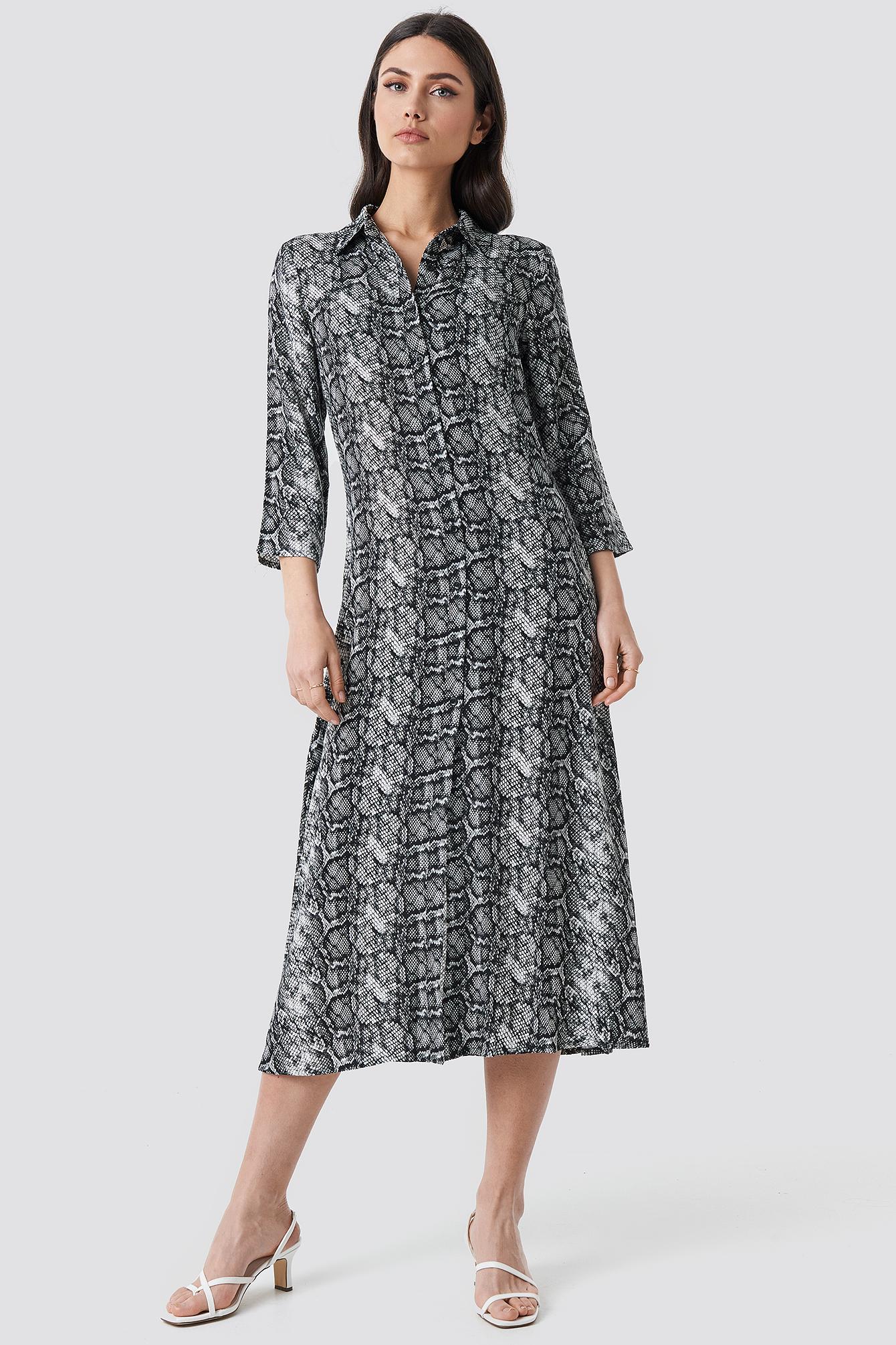 Snake Printed Ankle Shirt Dress NA-KDLOUNGE.DE