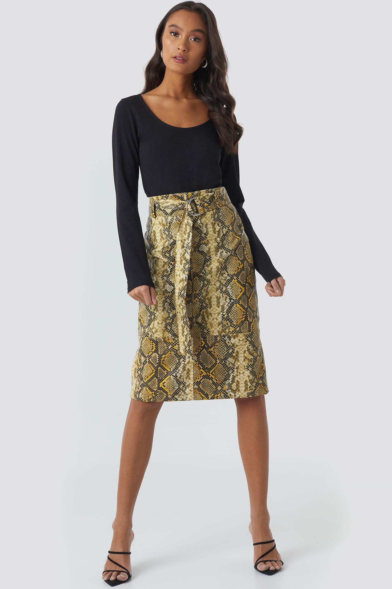 Snake Printed Belted PU Skirt NA-KDLOUNGE.DE