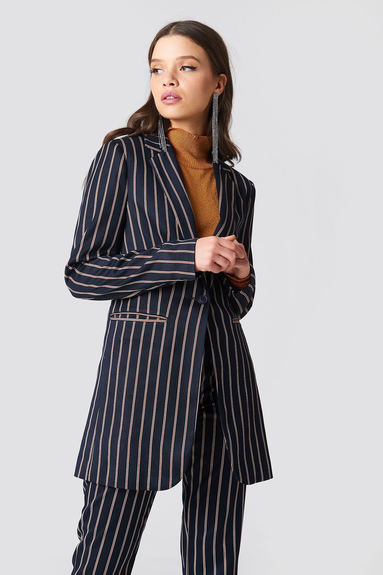 Striped Long Blazer NA-KDLOUNGE.DE