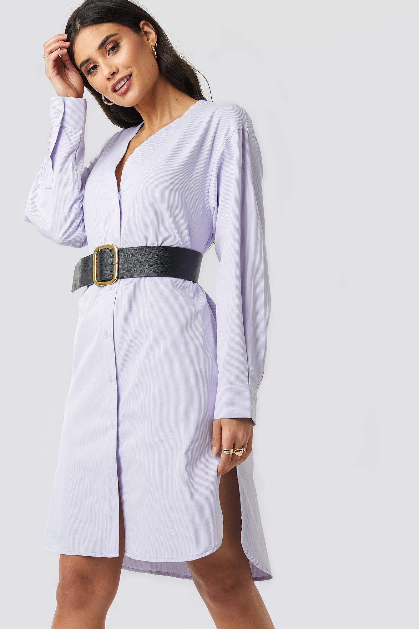 Striped Long Shirt Dress NA-KDLOUNGE.DE