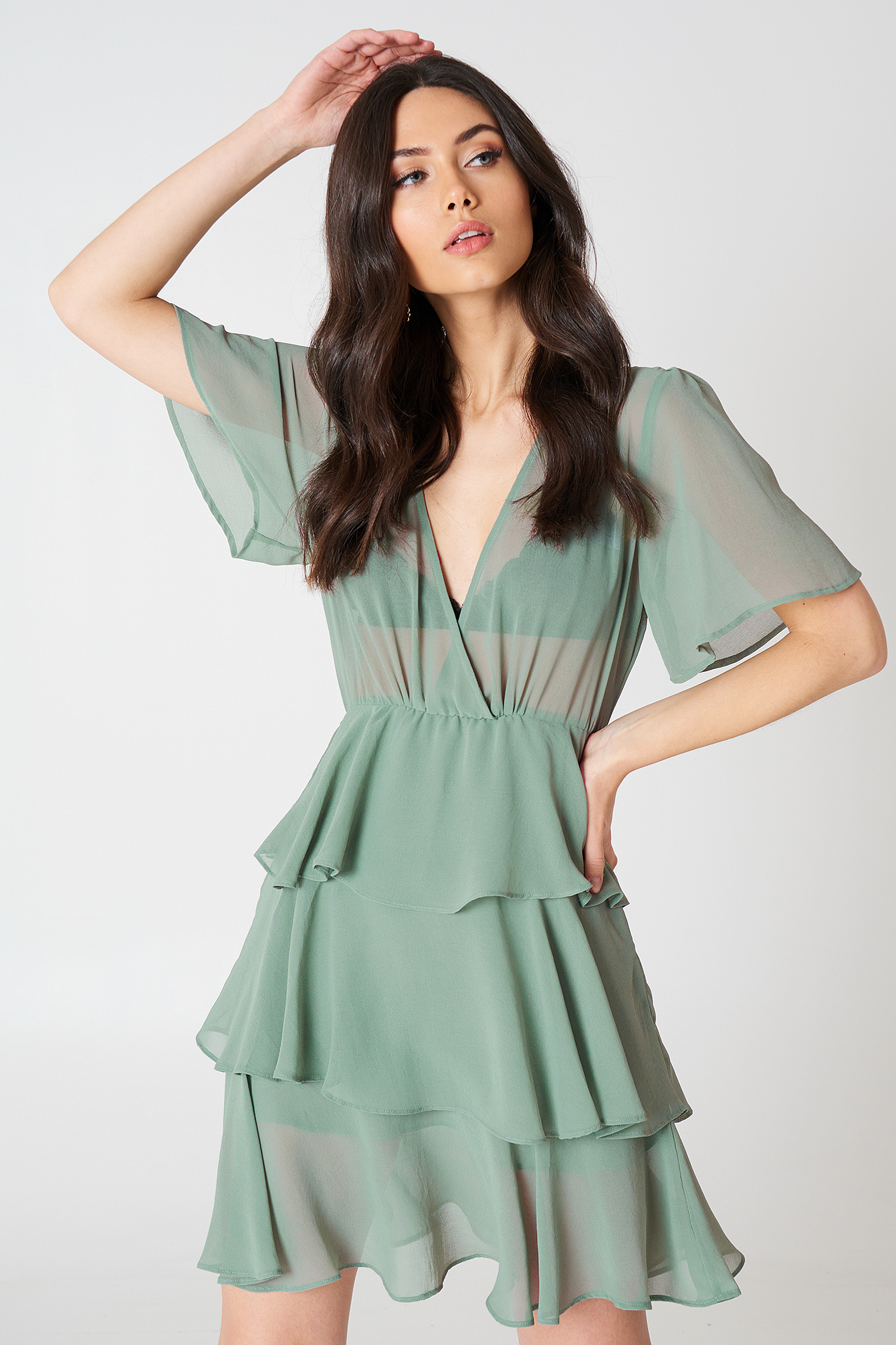 Triple Layer Flounce Dress NA-KDLOUNGE.DE