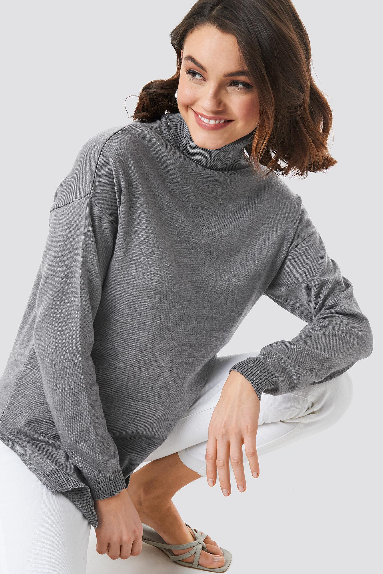 Turtle Neck Long Sweater NA-KDLOUNGE.DE