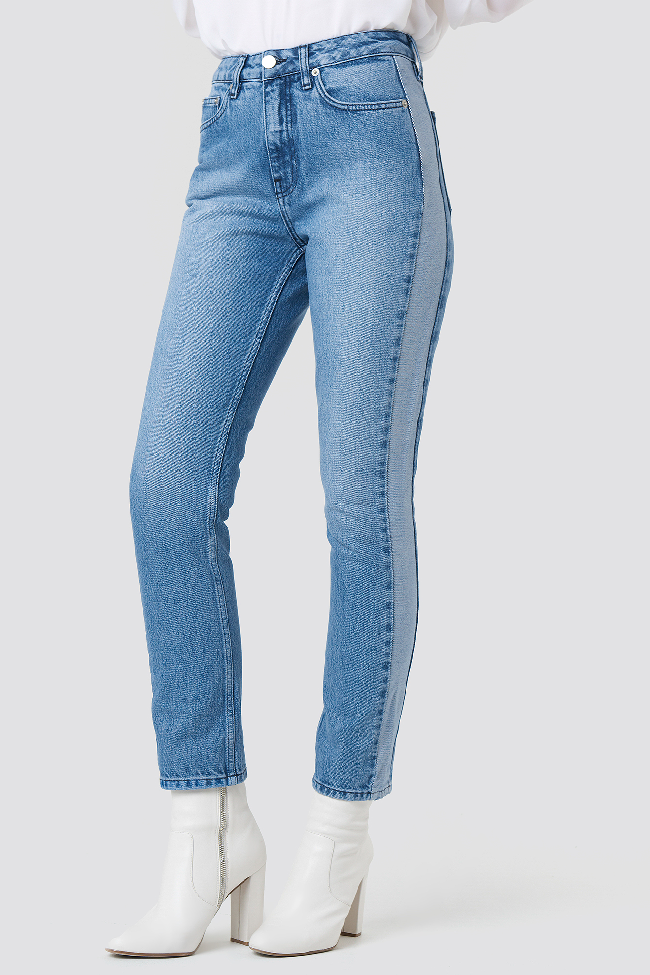 Two Tone Side Panel Jeans NA-KDLOUNGE.DE