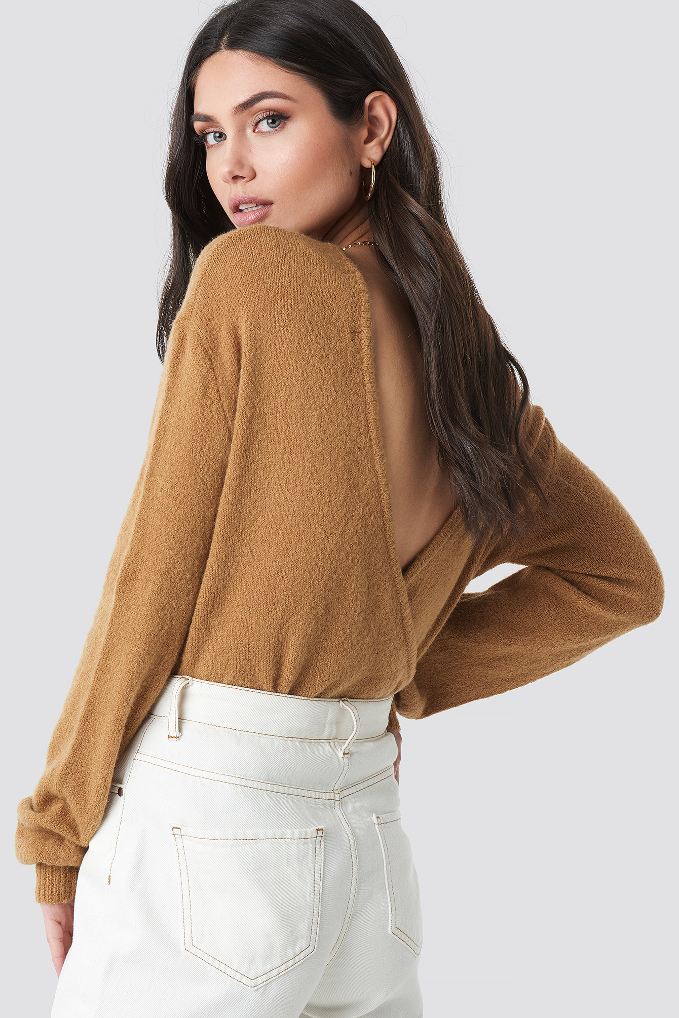 V-Neck Back Overlap Knitted Sweater NA-KDLOUNGE.DE