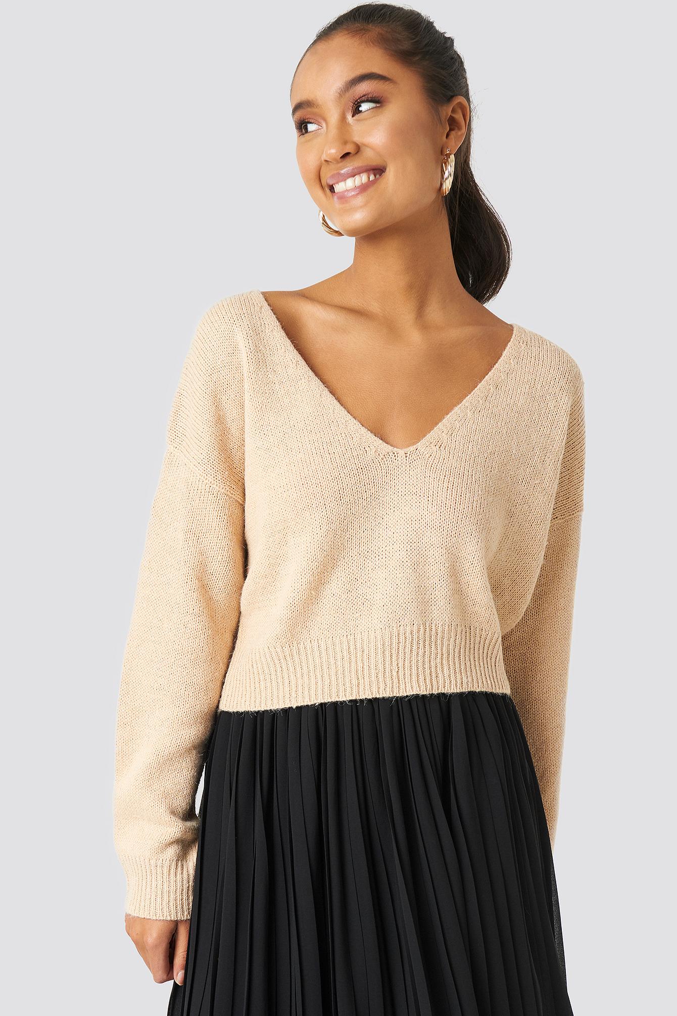 V-neck Cropped Knitted Sweater NA-KDLOUNGE.DE