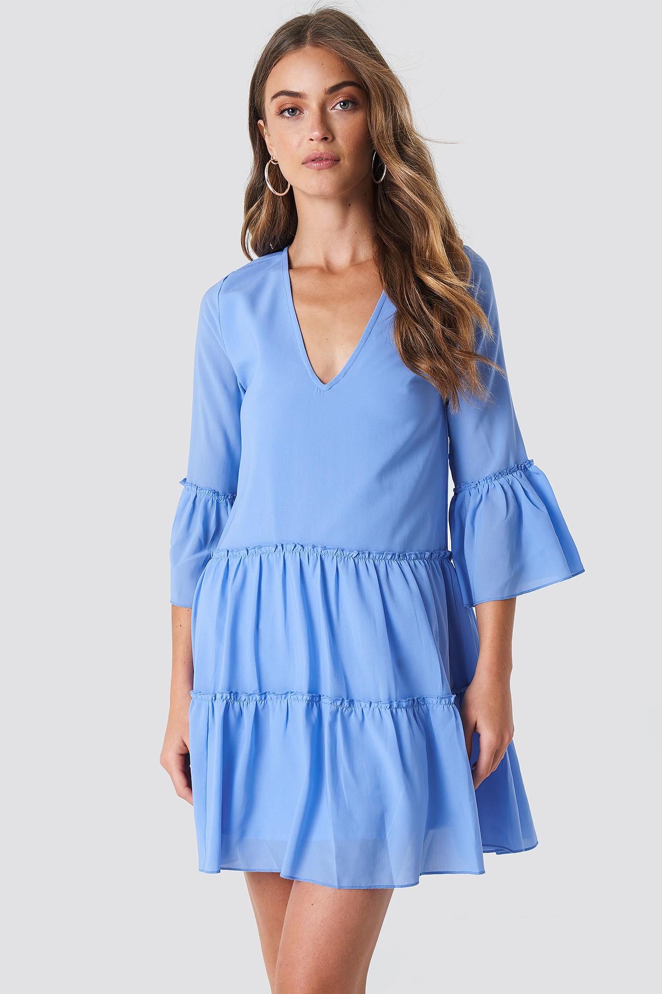V-Neck Ruffle Mini Dress NA-KDLOUNGE.DE