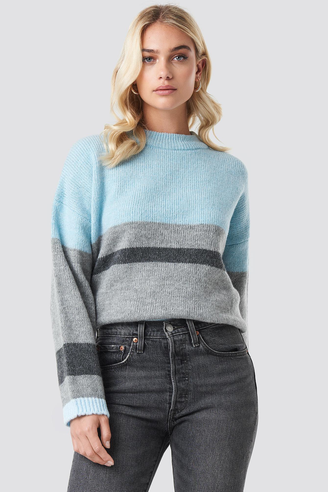 Wide Sleeve Blocked Colour Sweater NA-KDLOUNGE.DE