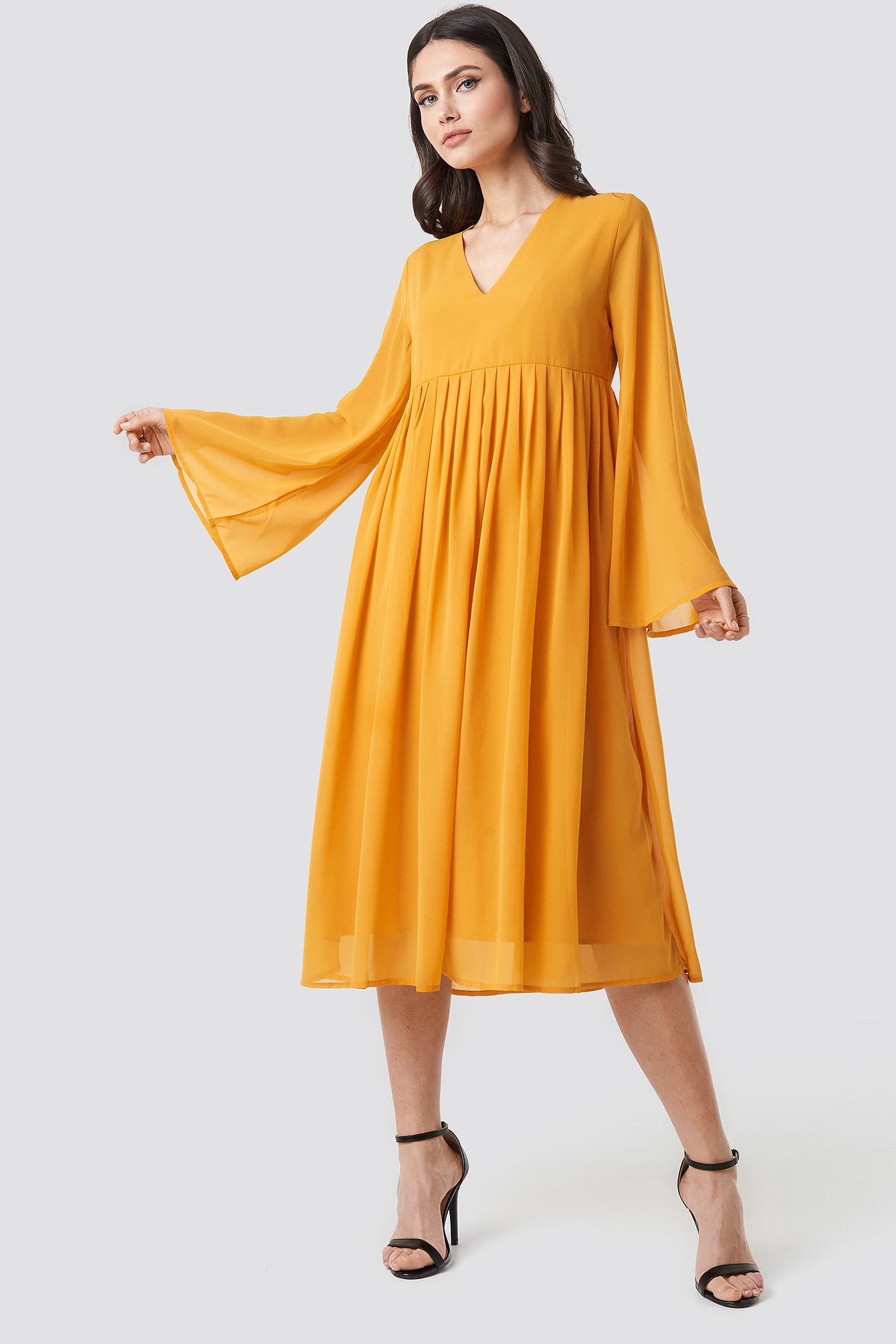 Wide Sleeve Flowy Chiffon Dress NA-KDLOUNGE.DE