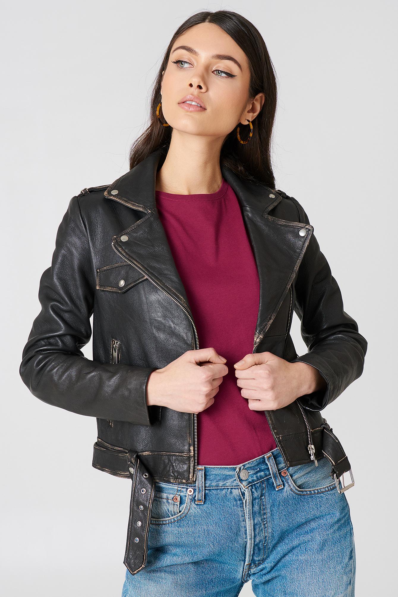 Worn Look Leather Jacket NA-KDLOUNGE.DE