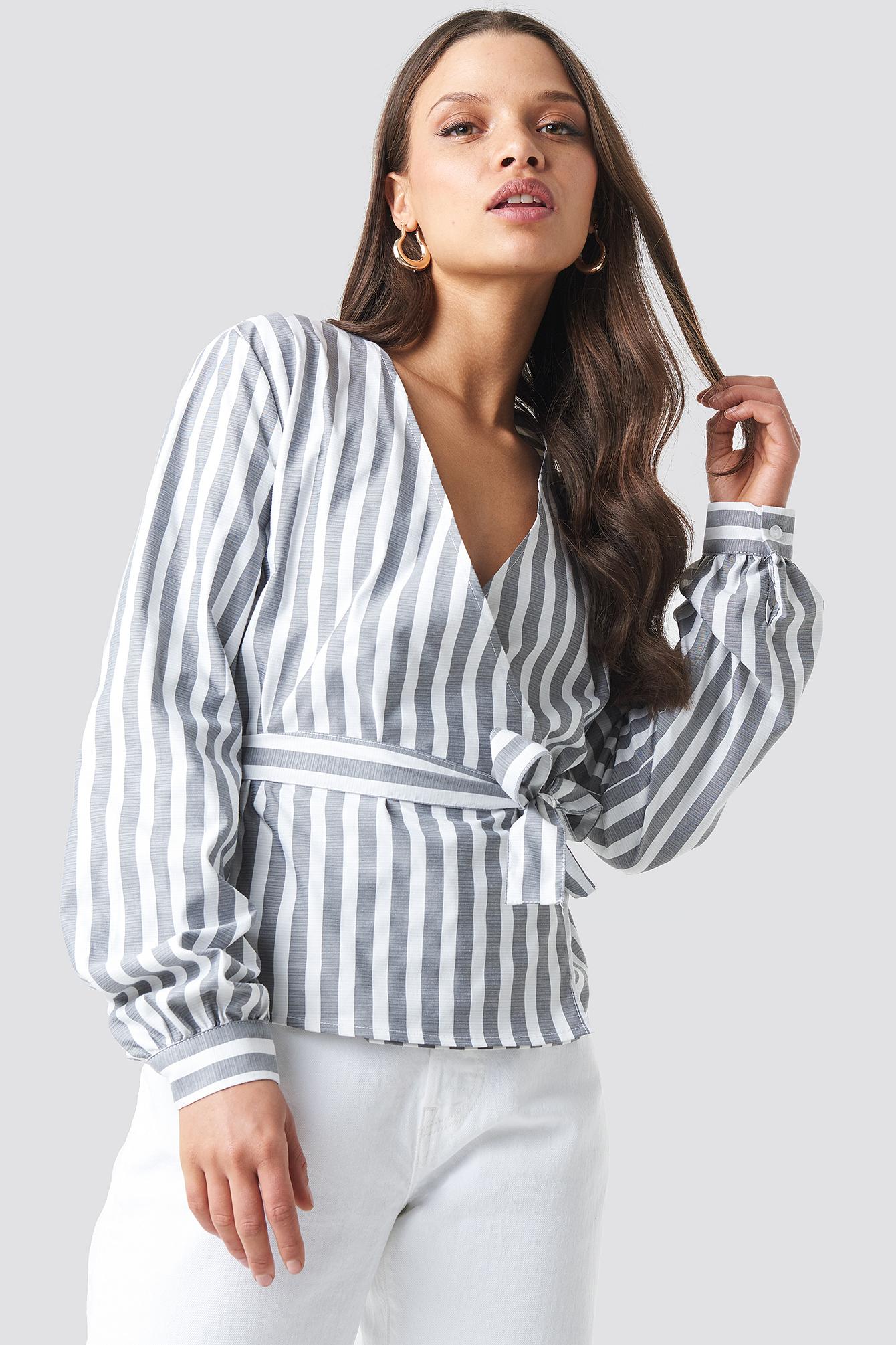 Wrap Over Striped Blouse NA-KDLOUNGE.DE