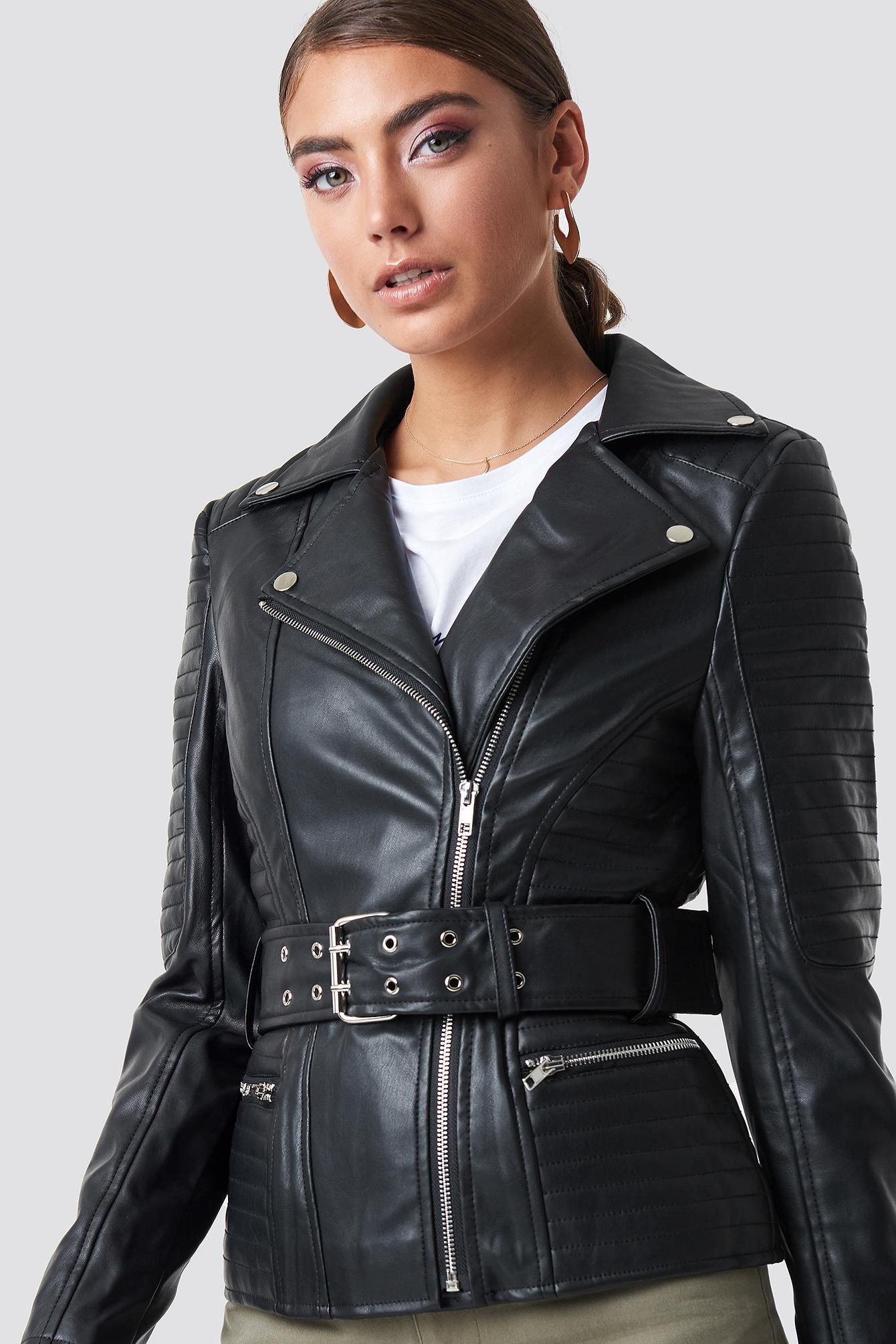 Belted Faux Leather Jacket NA-KDLOUNGE.DE