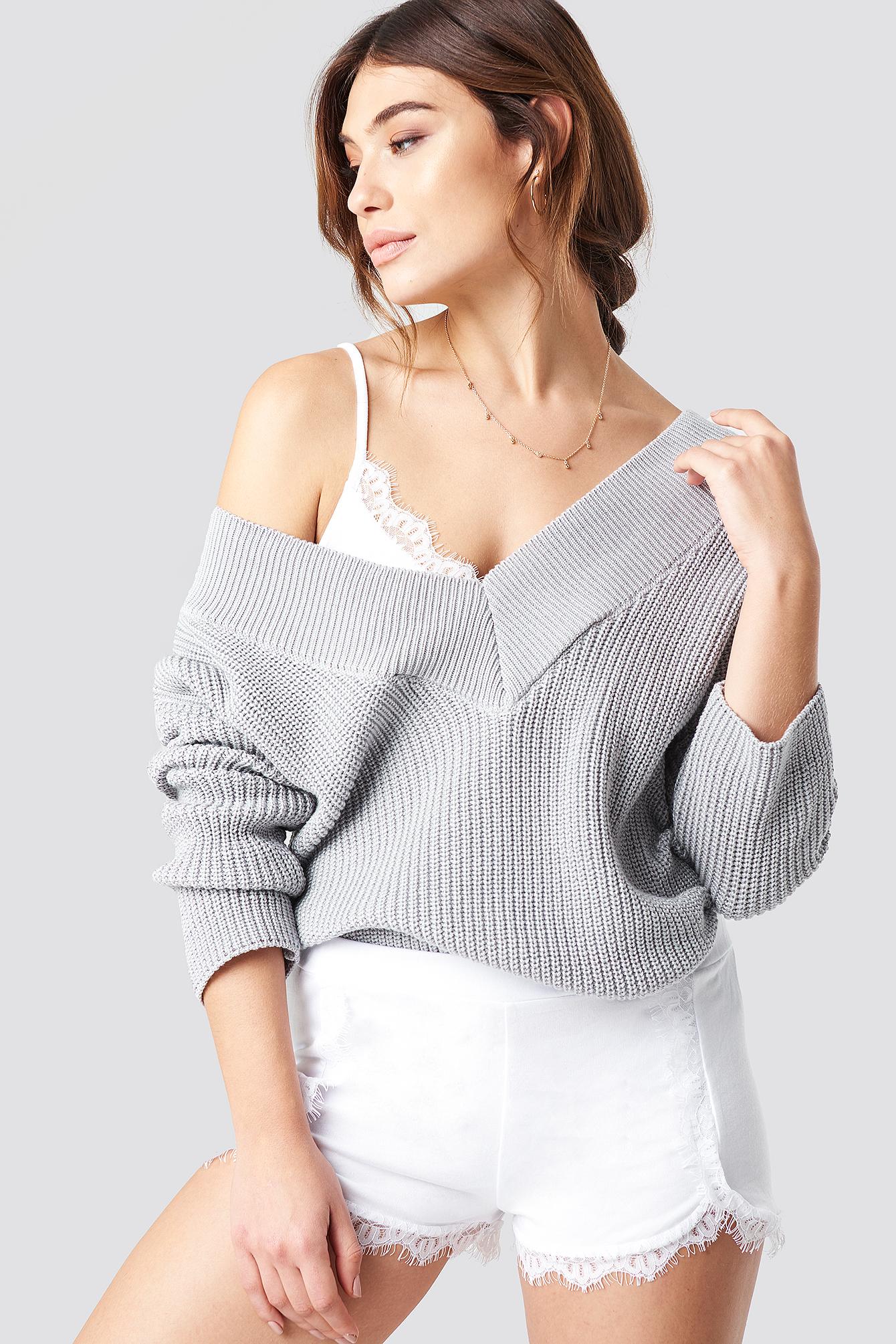 V-Neck Knitted Sweater NA-KDLOUNGE.DE