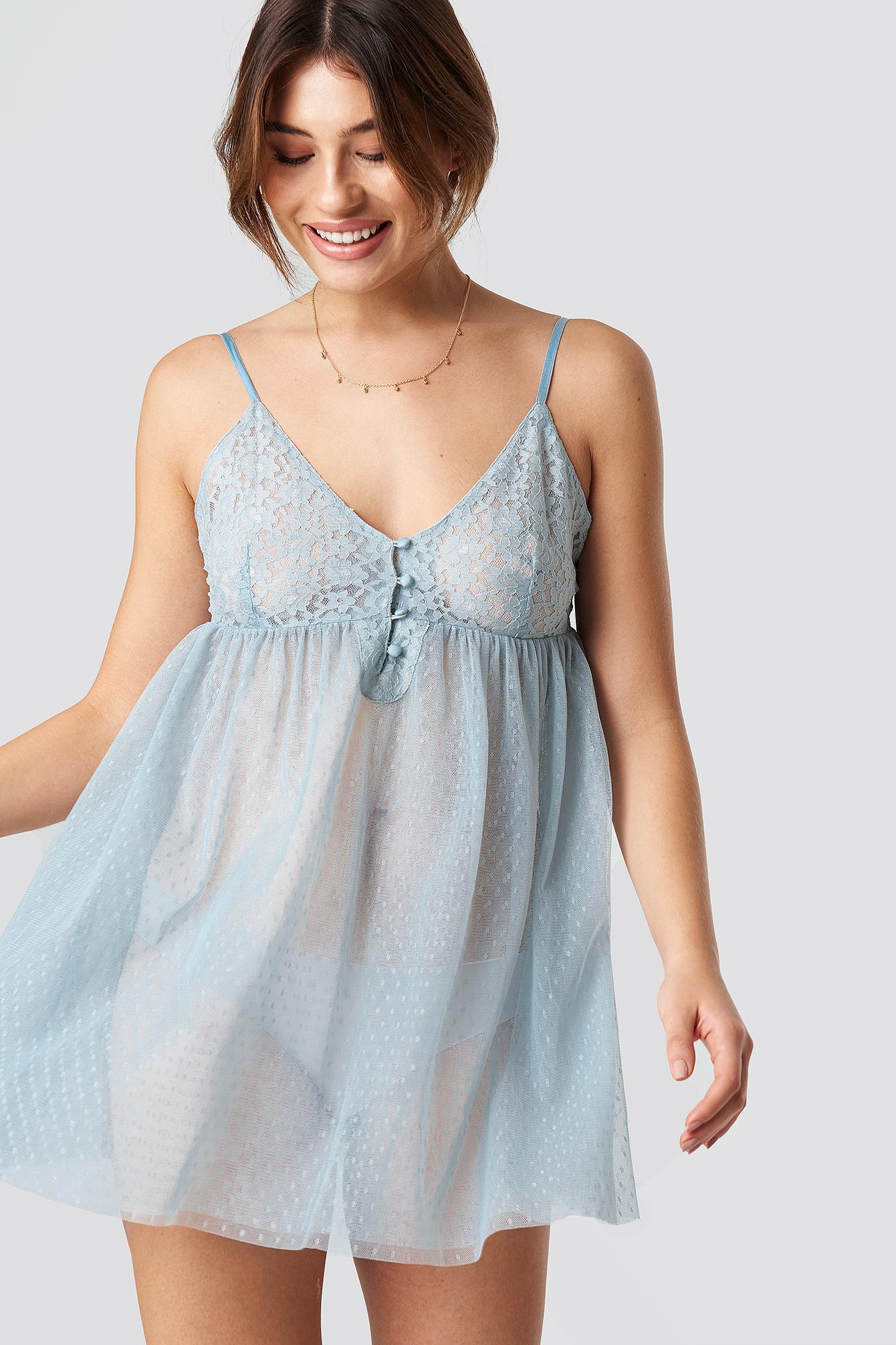 Lace Detailed Romantic Night Dress NA-KDLOUNGE.DE