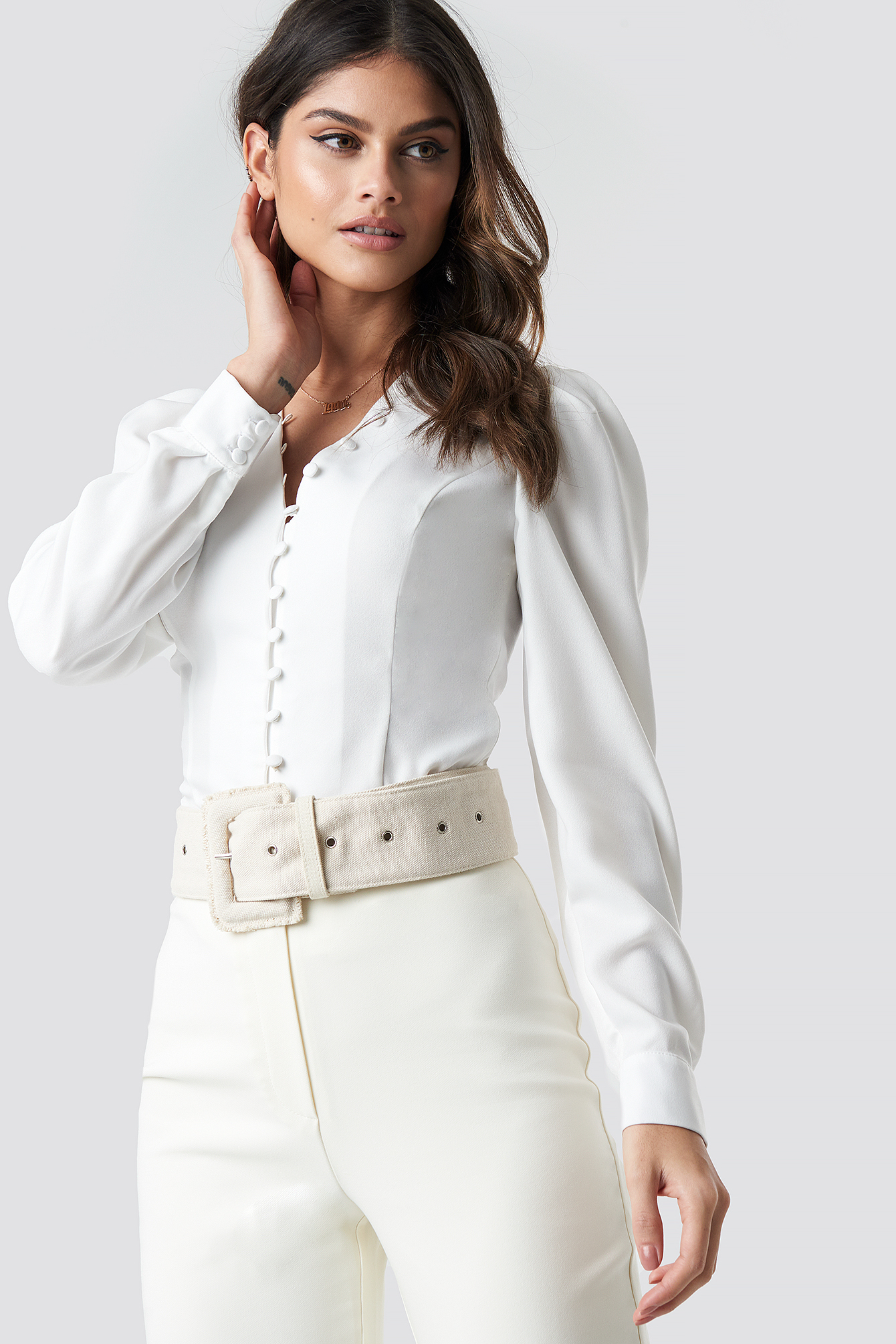 Front Button Puffy Sleeve Blouse NA-KDLOUNGE.DE