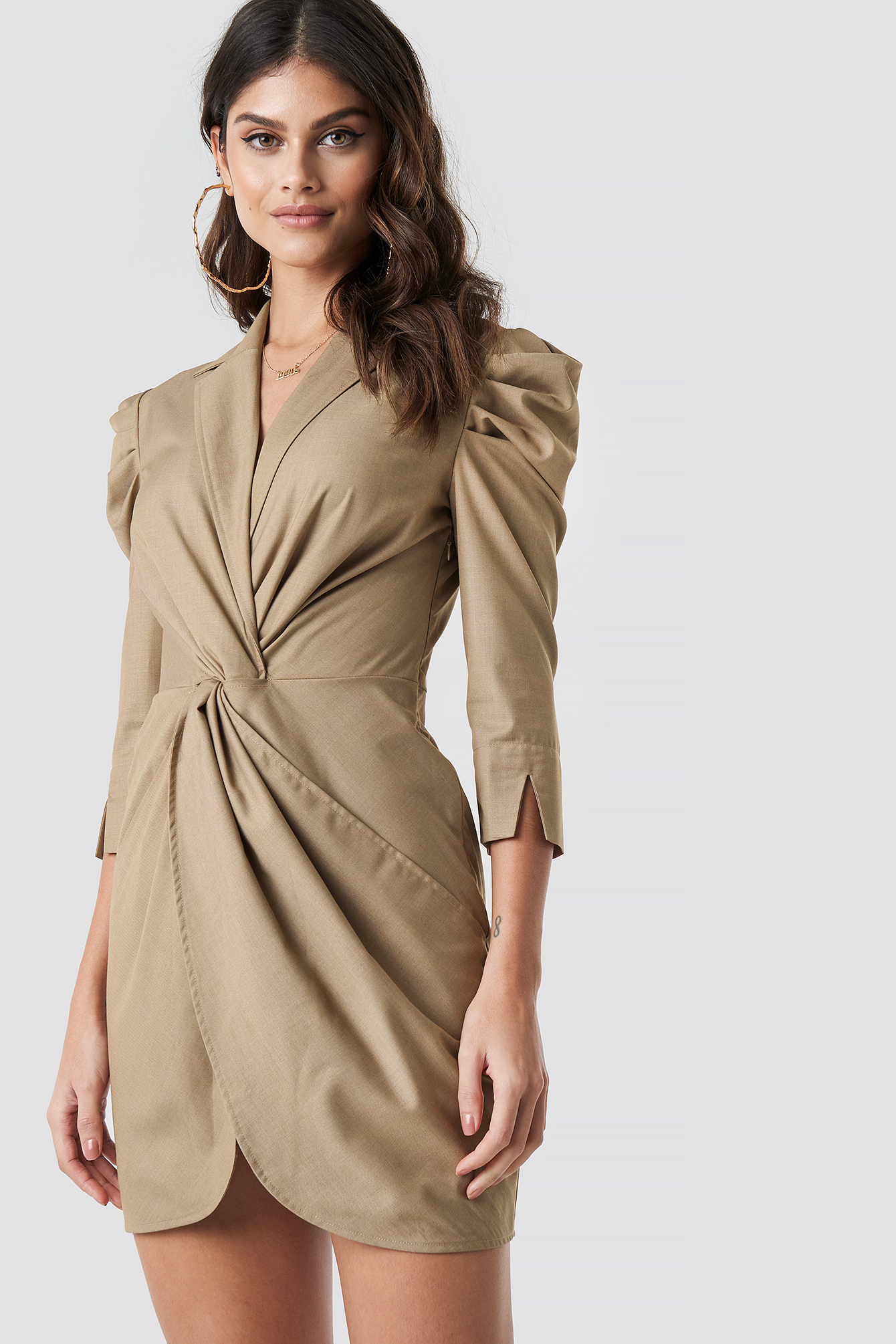 Front Knot Shirt Dress NA-KDLOUNGE.DE