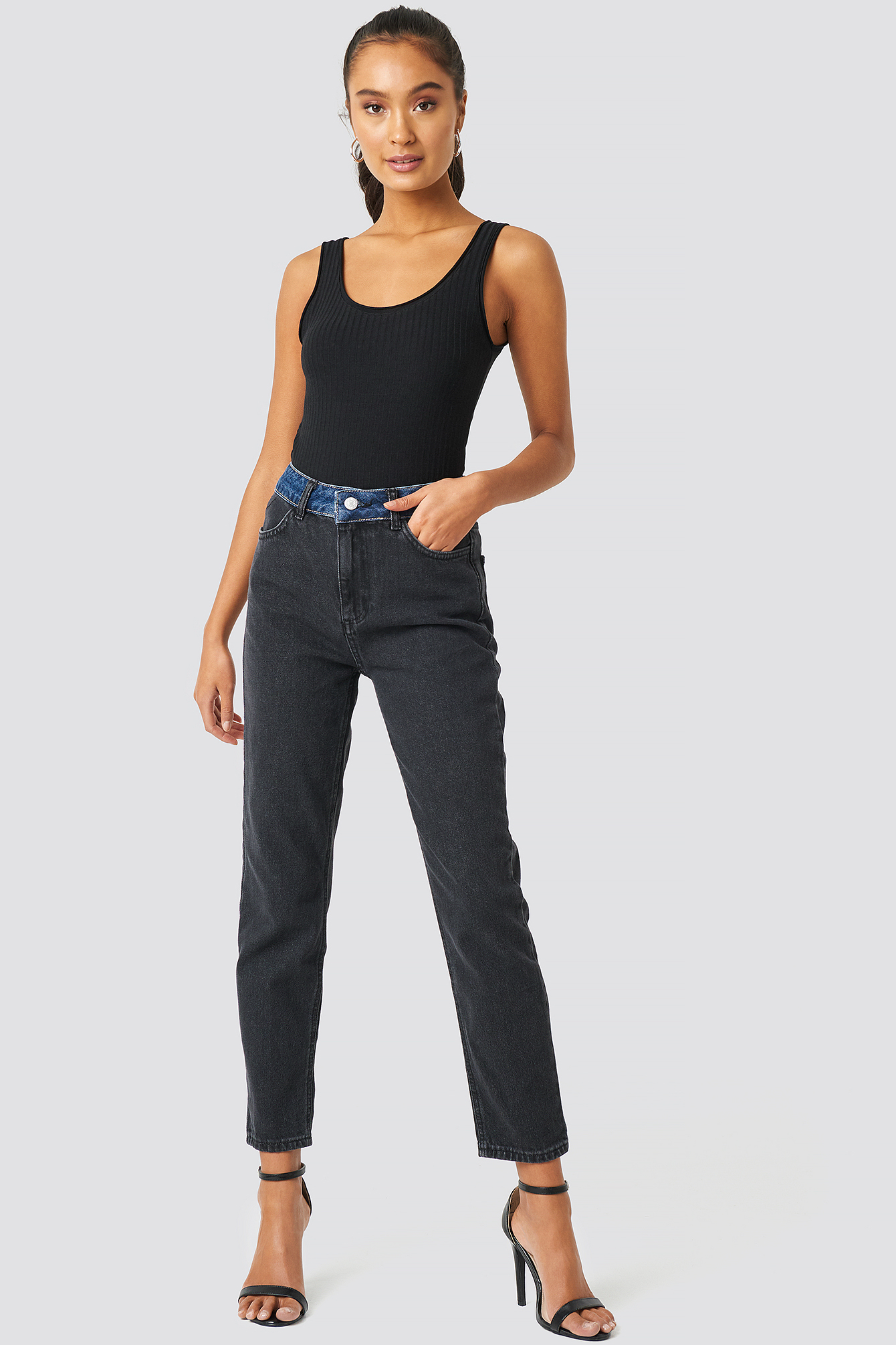 Color Blocky High Waist Mom Jeans NA-KDLOUNGE.DE
