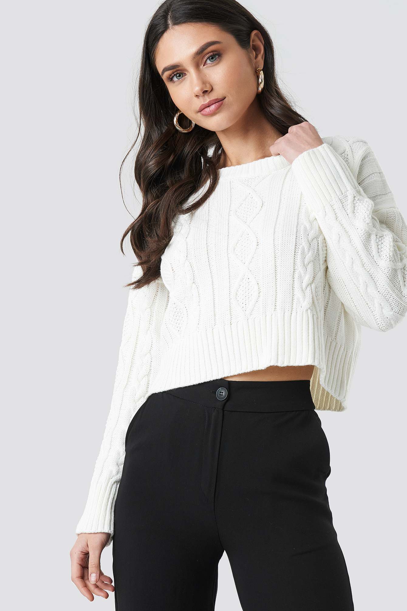 Knit Detailed Crop Sweater NA-KDLOUNGE.DE