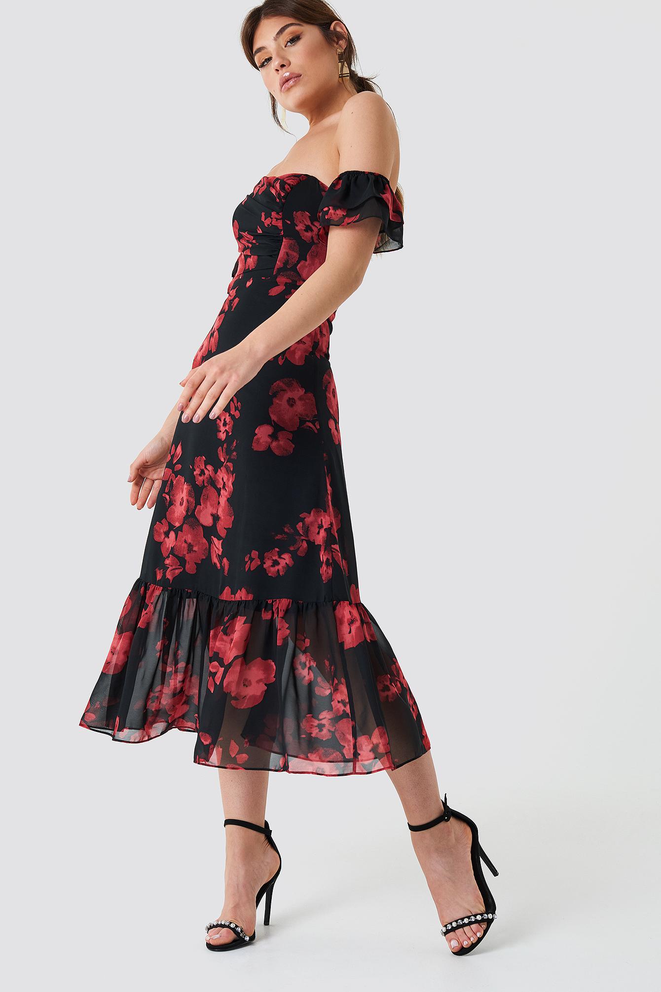 Relaxed Shoulder Midi Dress NA-KDLOUNGE.DE