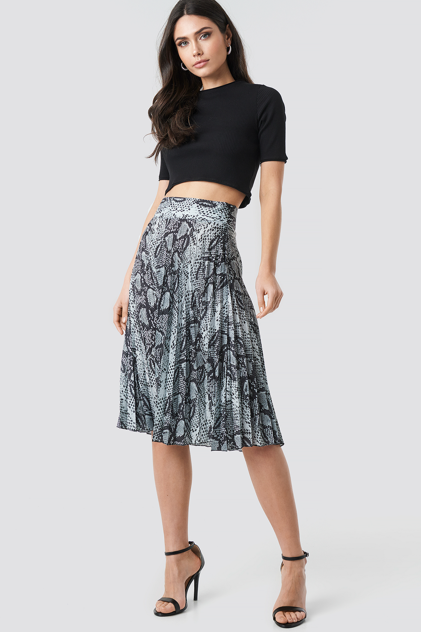 Snake Pattern Pleated Skirt NA-KDLOUNGE.DE