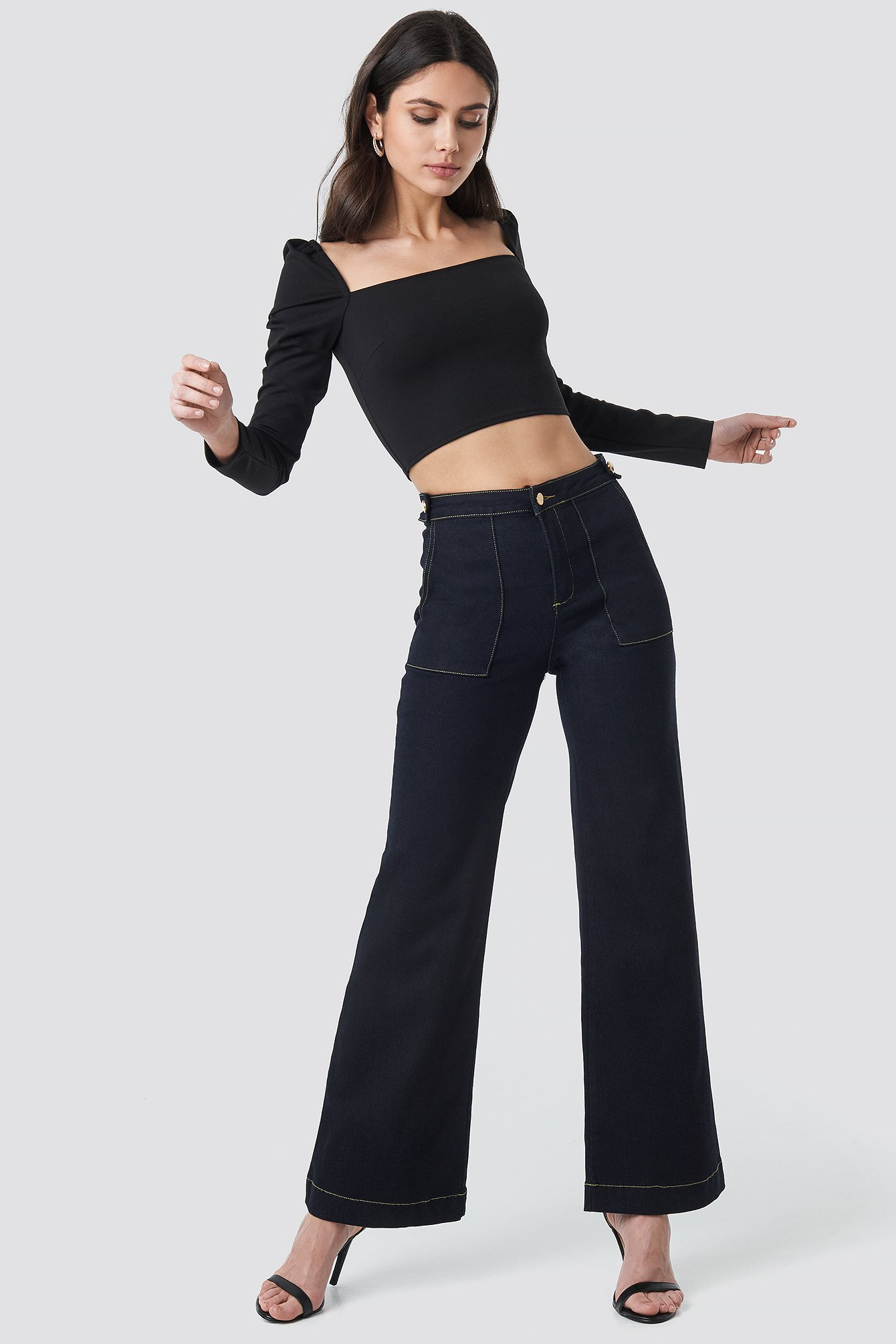 Stitch Detail High Waist Wide Jeans NA-KDLOUNGE.DE